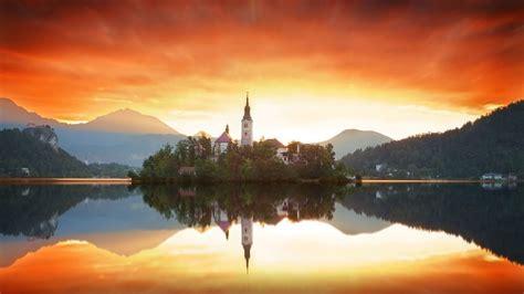 sunrise  bled slovenia hd wallpaper