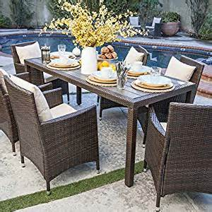 nathaniel 7 outdoor patio dining set with cushions weather resistant resin