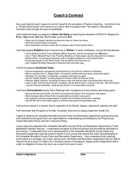 business coaching contract template coaches contract