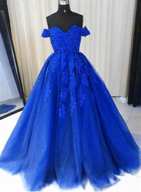 royal blue tulle gown lace applique  shoulder party
