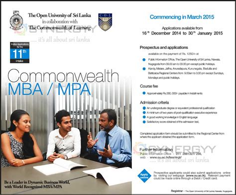 Commonwealth Executive Mba In Bangladesh Open by Commonwealth Mba Mpa From The Open Of Sri Lanka