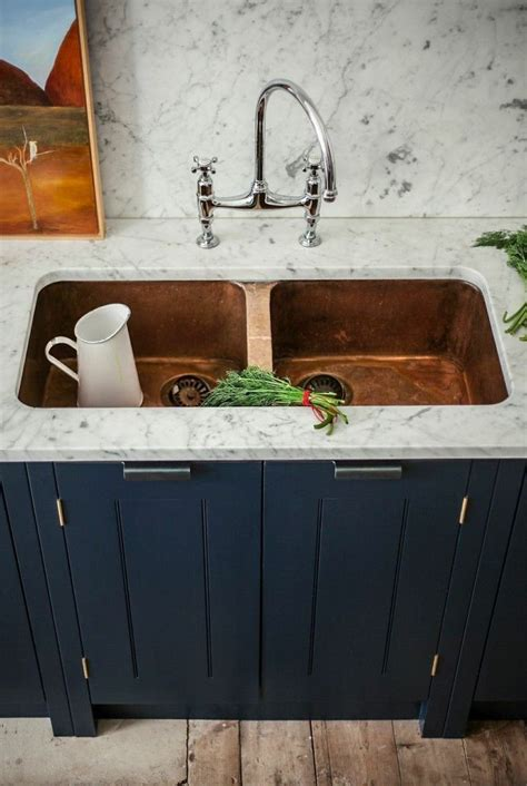 Kitchen copper kitchen sinks enchanting set of white tiled cabinet and copper sink