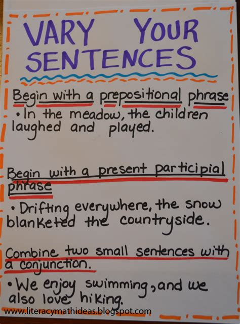 varying sentences worksheet literacy math ideas vary sentence structure