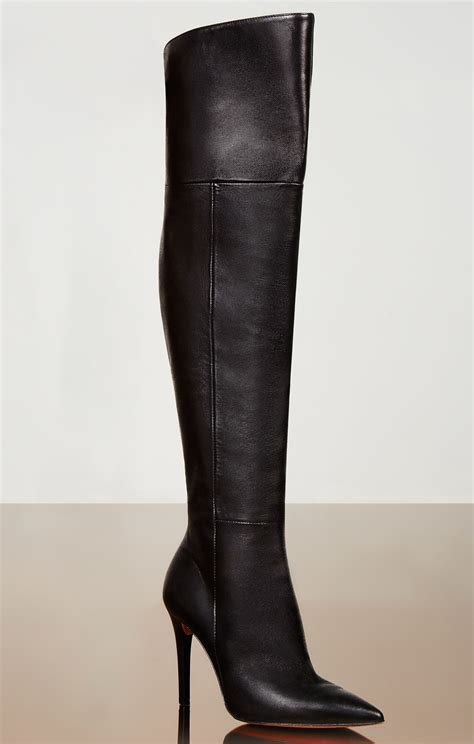 high heel boots knee high abella high heel the knee leather boots