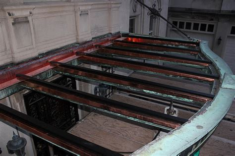 awning flashing copper awning new rib flashing and glass panel clips ins flickr