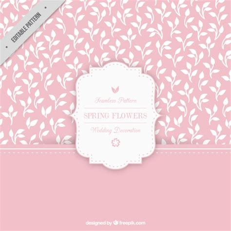 pink pattern vector free download pink pattern with hand drawn white leaves vector free