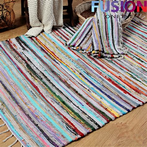 flat weave cotton rugs 100 cotton handmade multi colour chindi rug area rag rugs flat weave mat mats ebay