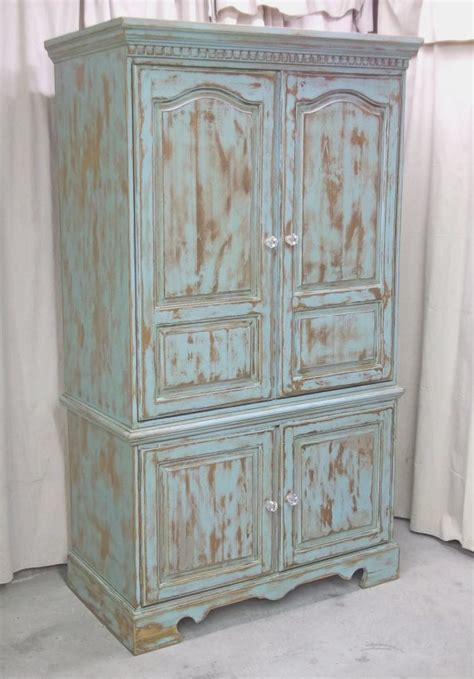 Painted Tv Armoire by Shabby Aqua Painted Armoire Media Cabinet By Royaloakcottage Tv Space Measures 37 X 20 X 34