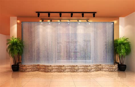 water curtain restaurant entrance water curtain wall rendering 3d