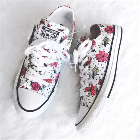 Sneakers White Flower white converse converse shoes and floral prints on