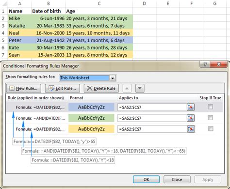 format date of birth in excel date of birth calculator in excel sheet download