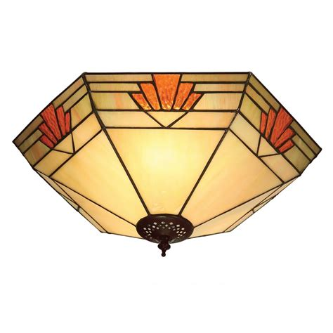 Tiffany Art Deco Flush Fitting Ceiling Light Nevada 1930 S Deco Style Ceiling Lights