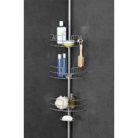 Shower Pole Shelf by Tension Caddy Corner Pole Shower Adjustable Wire Shelf