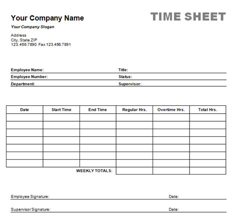 free simple time card template 6 weekly timesheet template procedure template sle