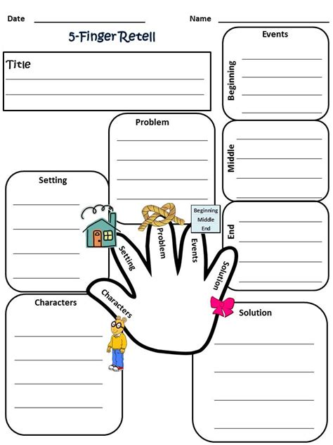 Re Telling by My 5 Finger Retell Worksheet 2nd Grade Reading Grade 1