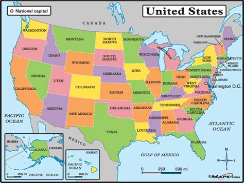 usa map political states geography us maps with states