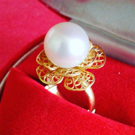 Mutiara Asli Lombok Flower Ring handmade gold ring with south sea pearl flower model cez 07 harga mutiara lombok perhiasan