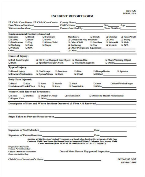 Incident Report Exle Childcare 53 incident report exles