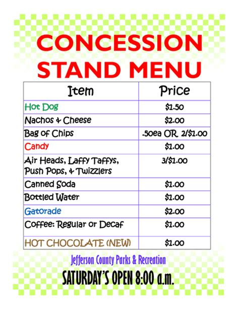 Concession Stand Menu Template by Concession Stand Menu Template Free Concession Stand Menu