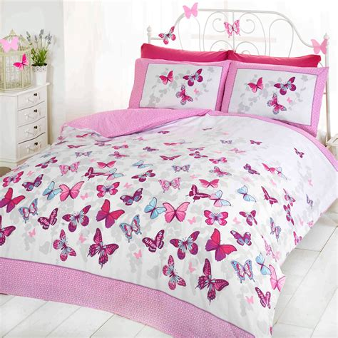 Girls Butterfly Bedding Reversible Polka Dot Cotton Rich Polka Dot Bedding