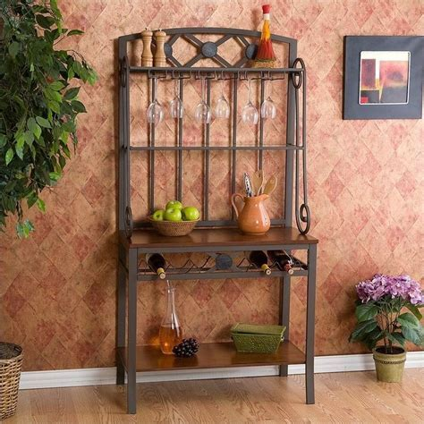 Southern Enterprises Decorative Bakers Rack with Wine