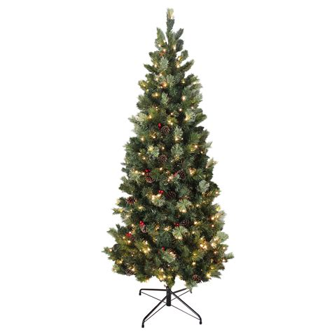 6ft artificial slim tall christmas tree green needle pine