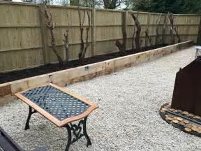 oak railway sleepers installation tidy gardens