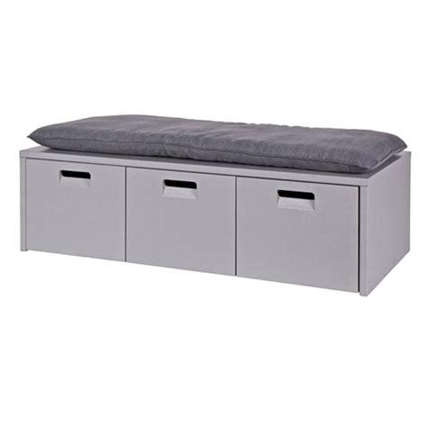 banc tiroir banc en pin gris coffre de rangement 3 tiroirs arthur decoclico