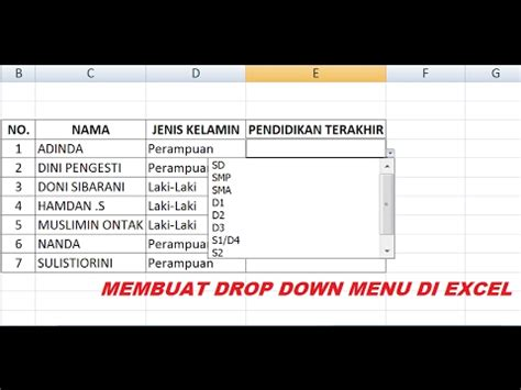 membuat menu drop down cantik cara membuat dropdown list di excel tutorial microsoft excel