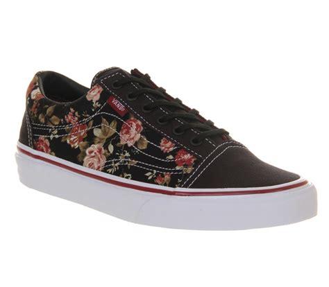 black flower shoes mens vans skool black floral trainers shoes ebay