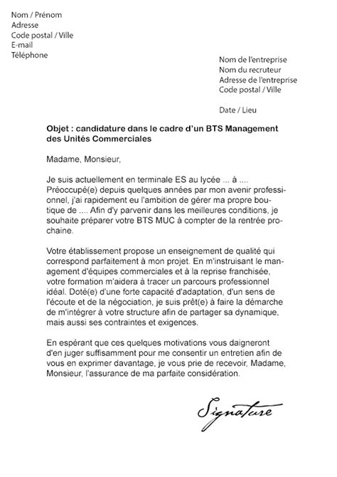 Exemple Lettre De Motivation Bts Muc Lettre De Motivation Bts Muc Mod 232 Le De Lettre