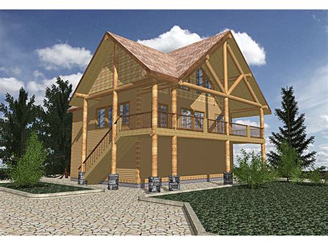 buffalo valley log cabin home plan 088d 0201 house plans