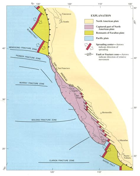 california tectonic plate map tectonic plates california