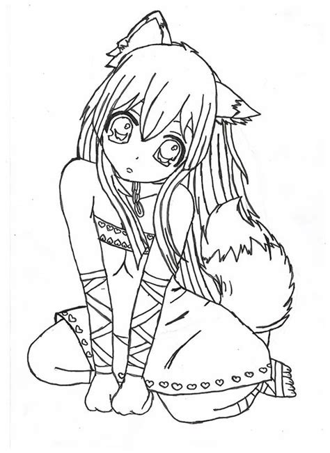 kids coloring pages printable anime fox girl coloring home chibi fox girl anime coloring page jpg 600 215 825