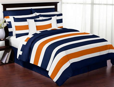 navy orange stripe bedding set 4 piece twin size by