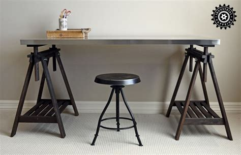 trestle table restoration hardware style at ikea prices