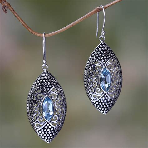 Handmade Sterling Silver Earrings Uk - unicef uk market blue topaz in handcrafted sterling