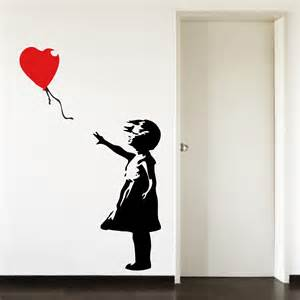 Room Further Light Blue banksy childhood balloon girl big paw print wall art