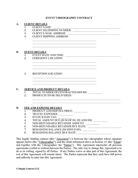 videography contract template videography contract template templates data