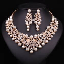 gold jewelry sets for weddings fashion pearl statement necklace earrings bridal jewelry sets gold plated jewellery