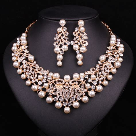 fashion pearl statement necklace earrings bridal jewelry