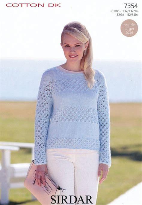 sirdar jumper knitting patterns sirdar sweater cotton knitting pattern 7354 dk