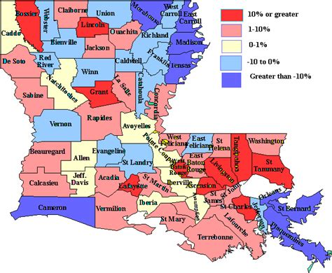 louisiana demographic map louisiana 10 year net population outmigration loss now