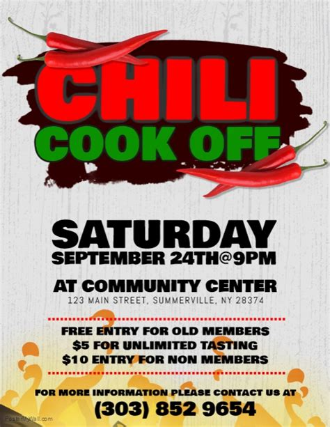 Chili Cook Off Flyer Template Postermywall Chili Cook Flyer Template Free