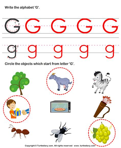 colors that start with g identify words that start with g worksheet turtle diary