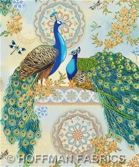Peacock Quilt Fabric by Royal Peacock With Metallic Cotton Print Quilting Fabric