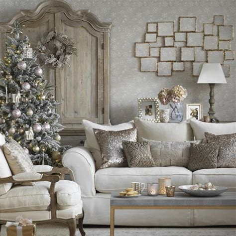 christmas home decor uk sparkling white christmas living room with metallic