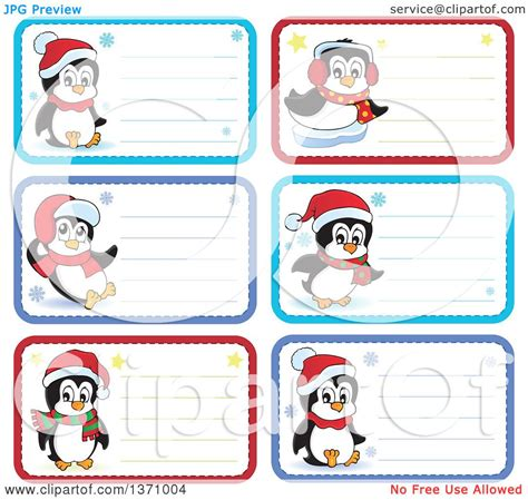 printable penguin name tags clipart of christmas gift or name tag labels of penguins