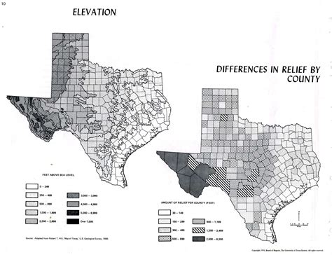 texas elevation map atlas of texas perry casta 241 eda map collection ut library