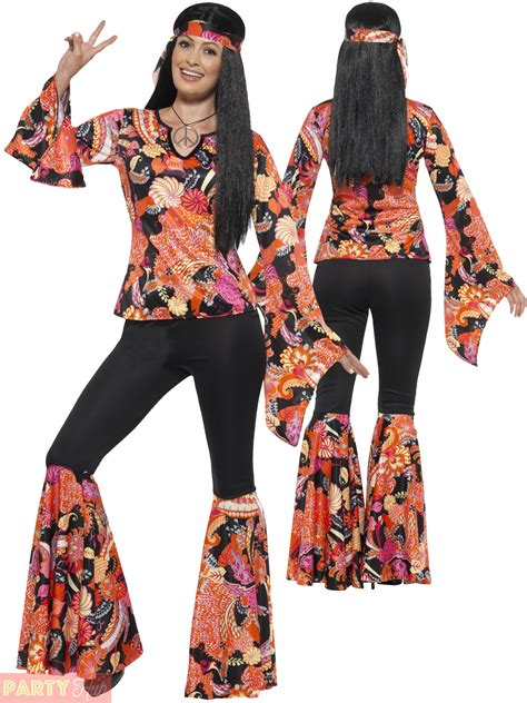 pictures of outfits for women in their60s ladies hippie hippy flares top costume adult 60s 70s